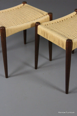 Pair Danish Teak Paper Cord Stools - Kernow Furniture 100s vintage, retro & antique items in stock