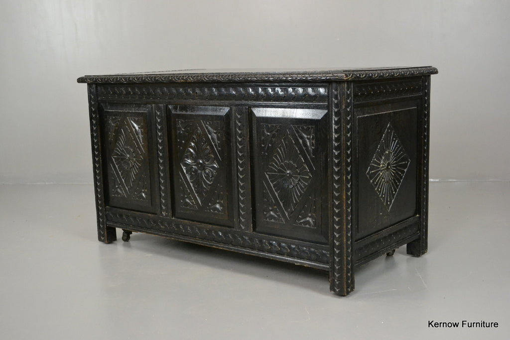 Victorian Ebonised Carved Coffer