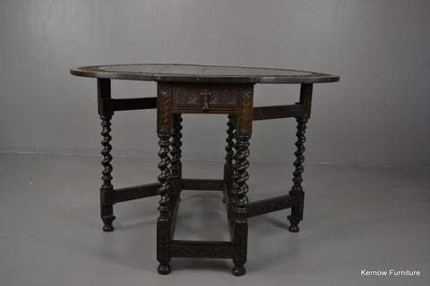 Pollard Oak Carved Drop Leaf Table - Kernow Furniture 100s vintage, retro & antique items in stock