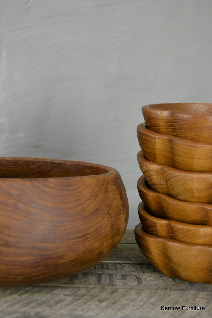 Teak Bowl & 6 Small Bowls - Kernow Furniture 100s vintage, retro & antique items in stock