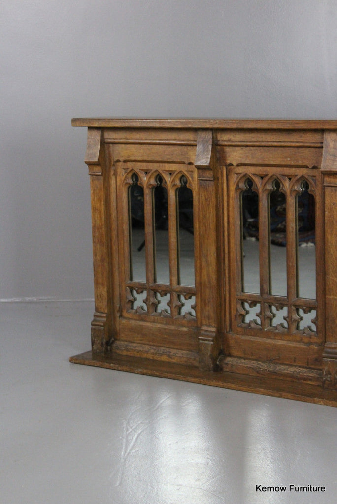 Victorian Oak Gothic Alter Overmantle Mirror