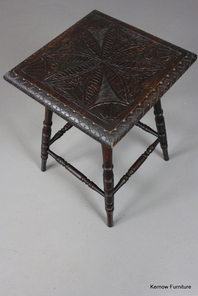 Carved Square Occasional Table - Kernow Furniture 100s vintage, retro & antique items in stock