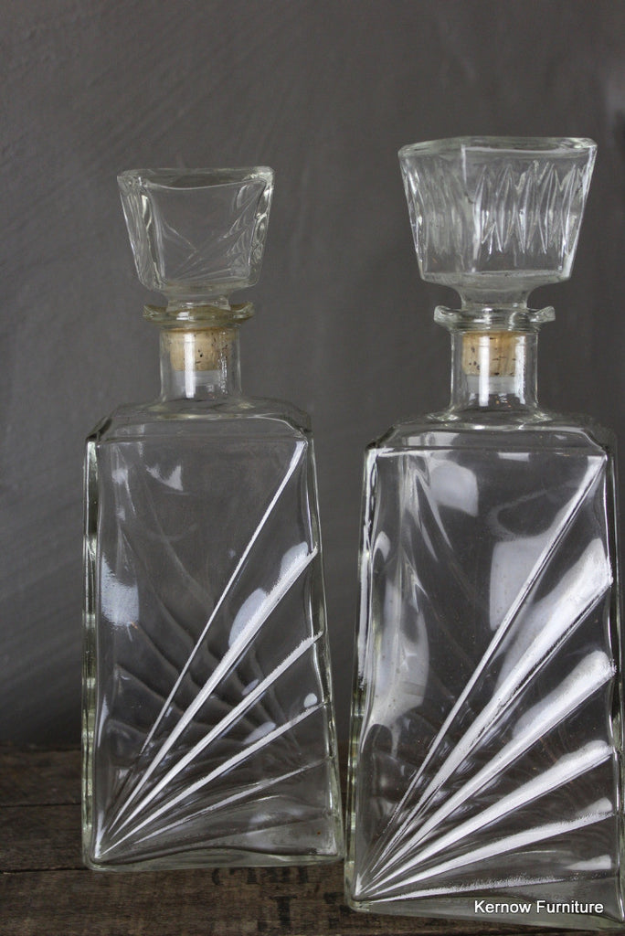 Pair Retro Glass Decanters - Kernow Furniture