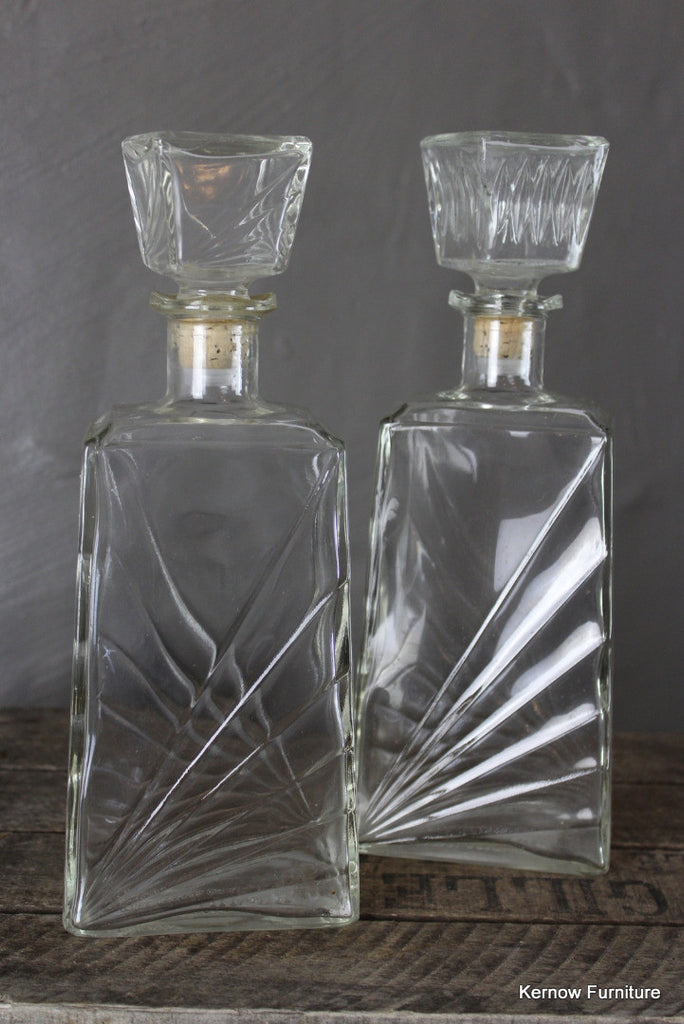 Pair Retro Glass Decanters - Kernow Furniture 100s vintage, retro & antique items in stock