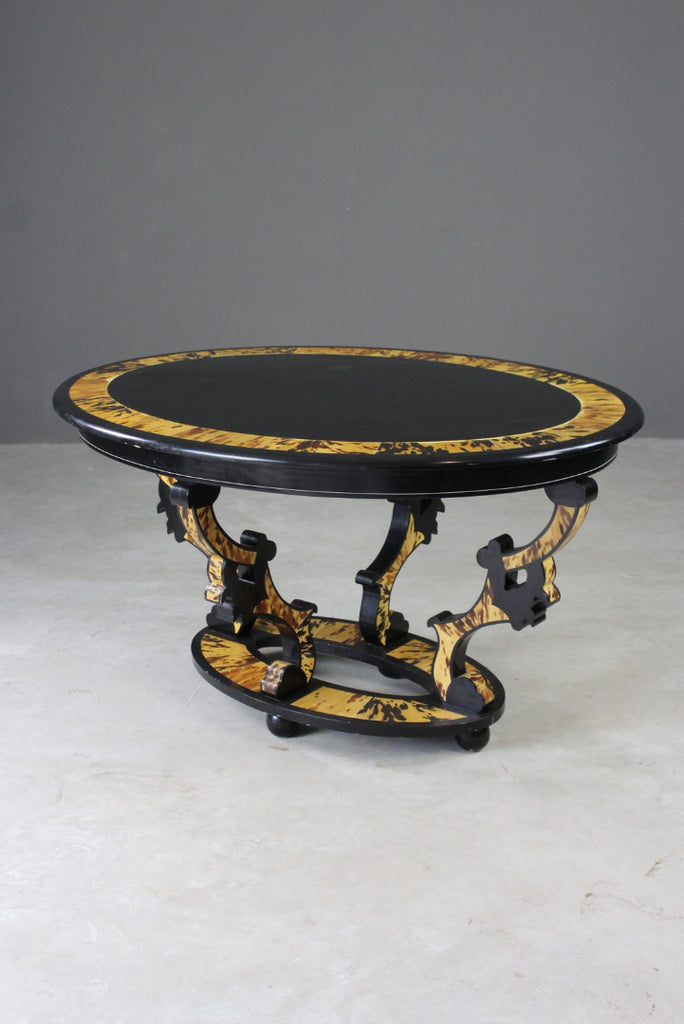 Oval Black & Tortoiseshell Effect Centre Table - Kernow Furniture
