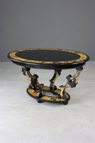 Oval Black & Tortoiseshell Effect Centre Table