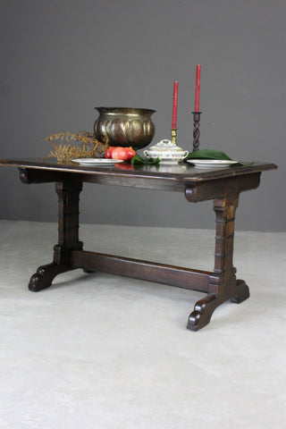 Victorian Gothic Style Oak Dining Table - Kernow Furniture