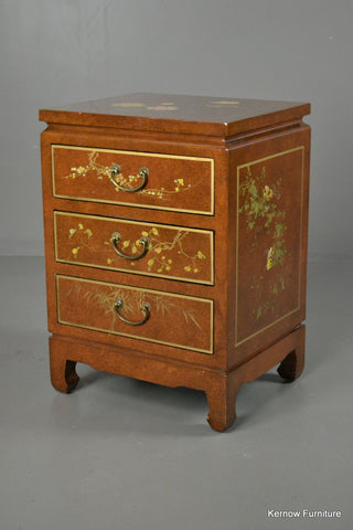 Oriental Lacquered Bedside Cabinet - Kernow Furniture 100s vintage, retro & antique items in stock