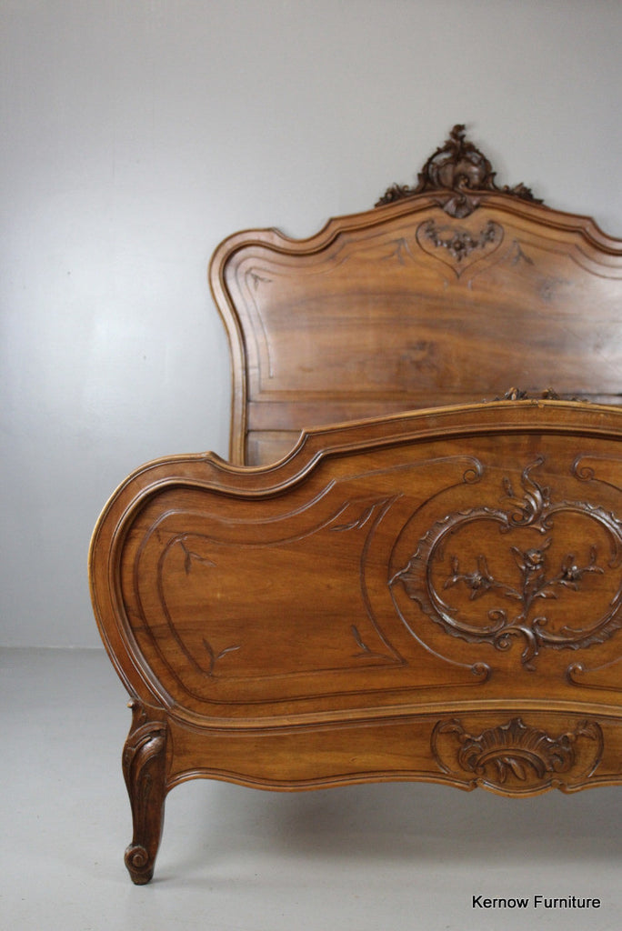 Antique Louis XV Style Ornate Walnut French Bed - vintage retro and antique furniture