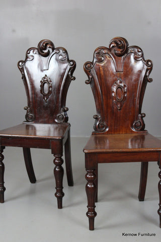 Pair Antique Victorian Hall Chairs - Kernow Furniture 100s vintage, retro & antique items in stock