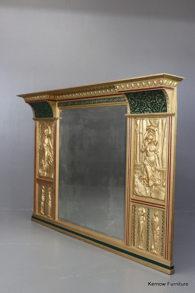 Large Antique Overmantle Mirror - Kernow Furniture 100s vintage, retro & antique items in stock
