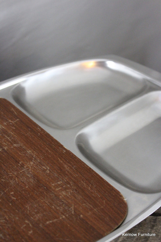Stainless & Teak Board Tray - Kernow Furniture 100s vintage, retro & antique items in stock