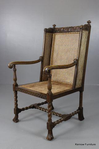 Caned Wing Chair - Kernow Furniture 100s vintage, retro & antique items in stock