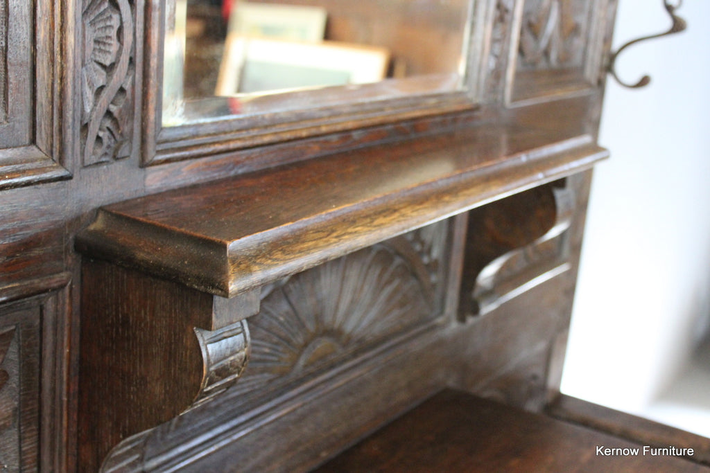 Antique Green Man Oak Hall Stand - Kernow Furniture