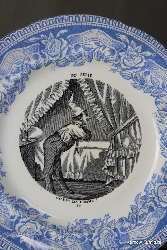 French Blue & White Transferware Plate - Kernow Furniture