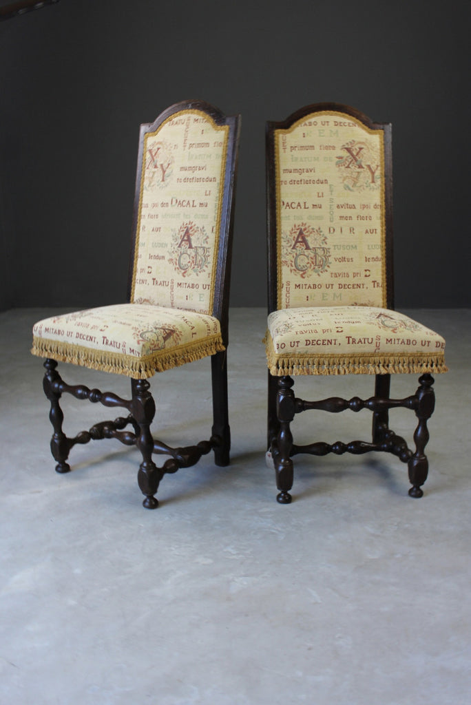 Pair 17th Century Style Dining Chairs
