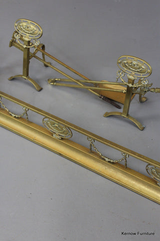 Edwardian Brass Fire Set