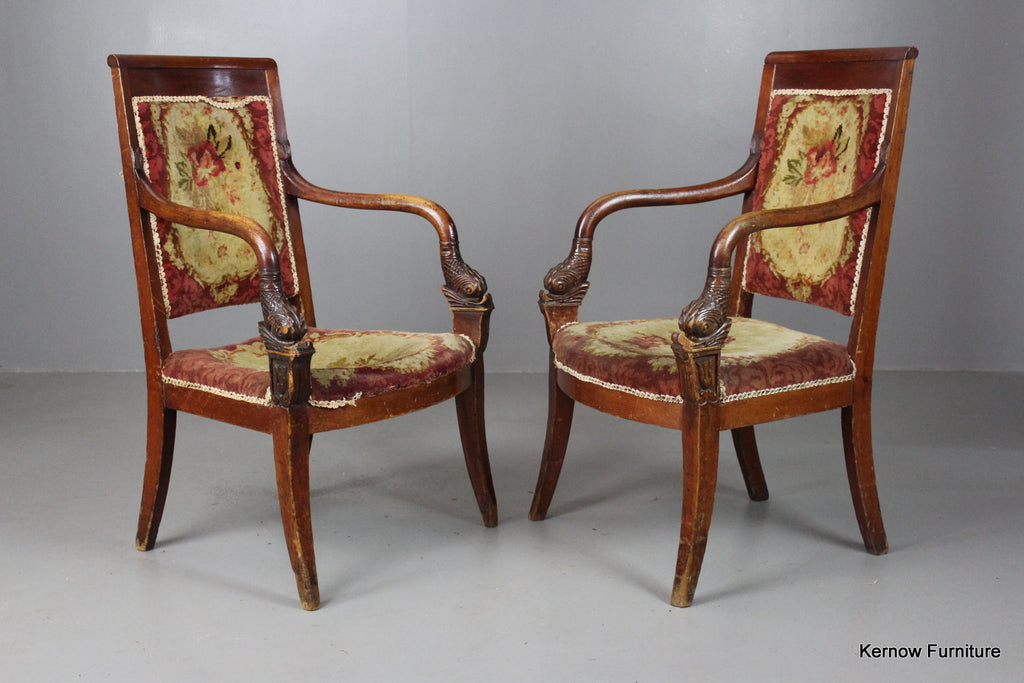 Pair French Chairs - Kernow Furniture