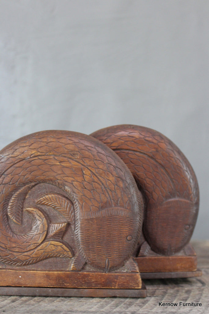 Pair Carved Bookends