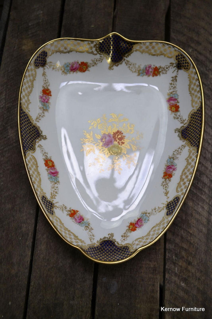 Wedgwood Leaf Shape Serving Dish Floral Blue & Gilt X3848 - Kernow Furniture