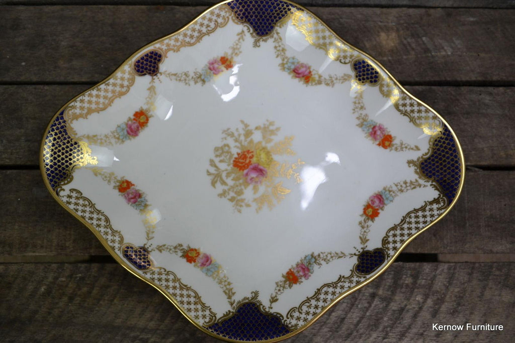 Wedgwood Diamond Shape Serving Dish Floral Blue & Gilt X3848