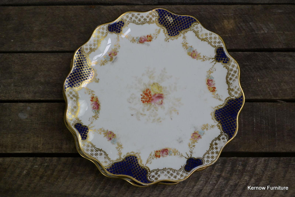 6 x Wedgwood Dessert Plate Blue & Gilt X3848 - vintage retro and antique furniture