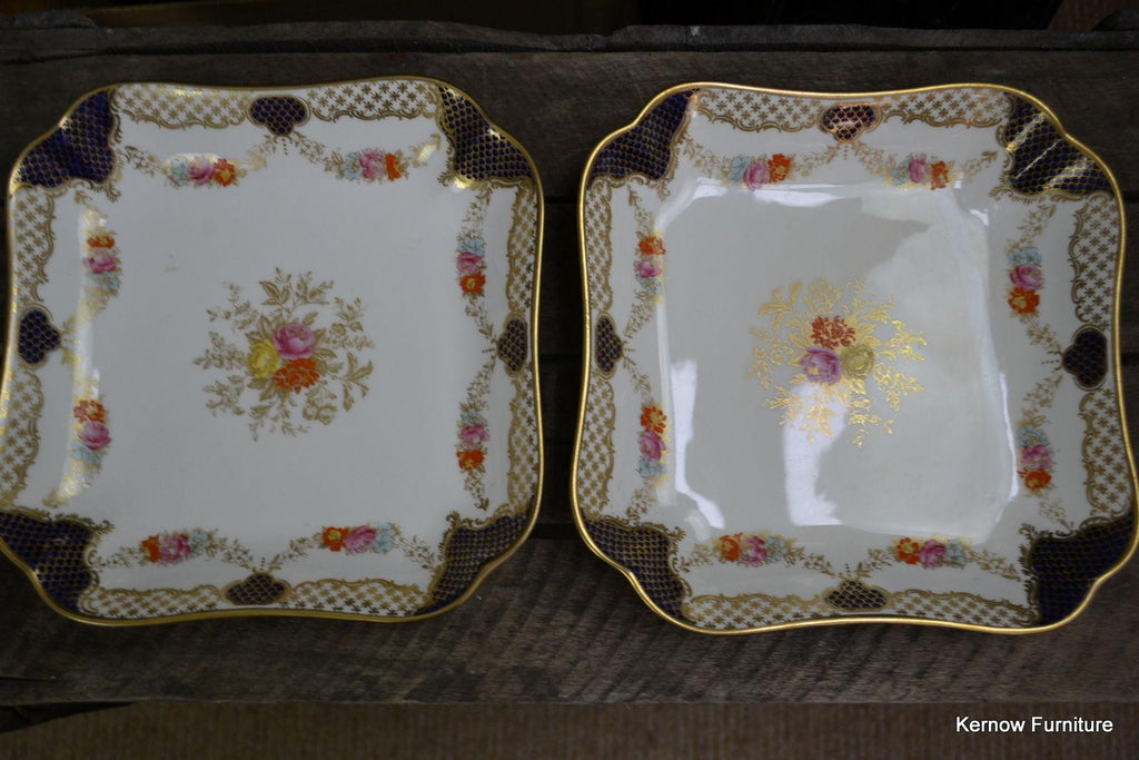 Wedgwood Square Dish Plate Blue & Gilt X3848 - Kernow Furniture