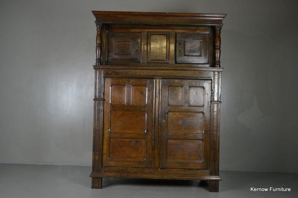 Antique 17th Century Vernacular Rustic Oak Court Cupboard