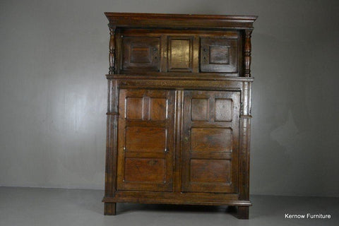 Antique 17th Century Vernacular Rustic Oak Court Cupboard - vintage retro and antique furniture