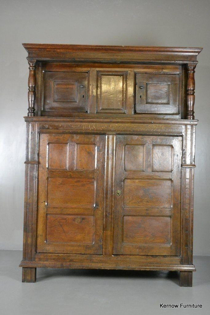 Antique 17th Century Vernacular Rustic Oak Court Cupboard - Kernow Furniture