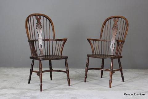 Pair Elm Windsor Chairs