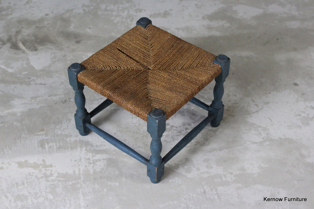 Seagrass Blue Footstool - Kernow Furniture