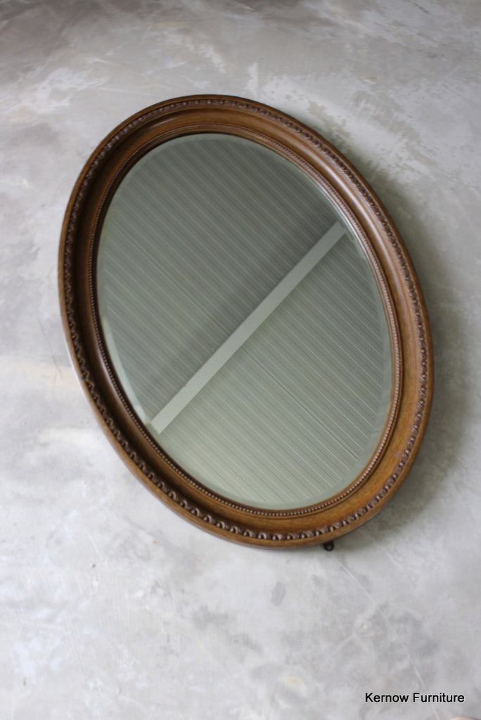 Large Antique Oval Wall Mirror - Kernow Furniture