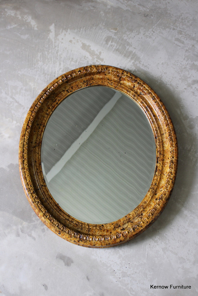Antique Painted Oval Wall Mirror - Kernow Furniture