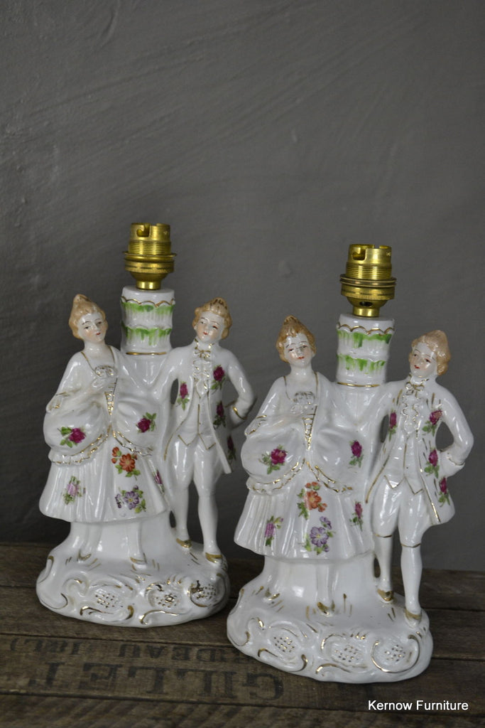 Pair Vintage Porcelain Figurine Table Lamps - Kernow Furniture