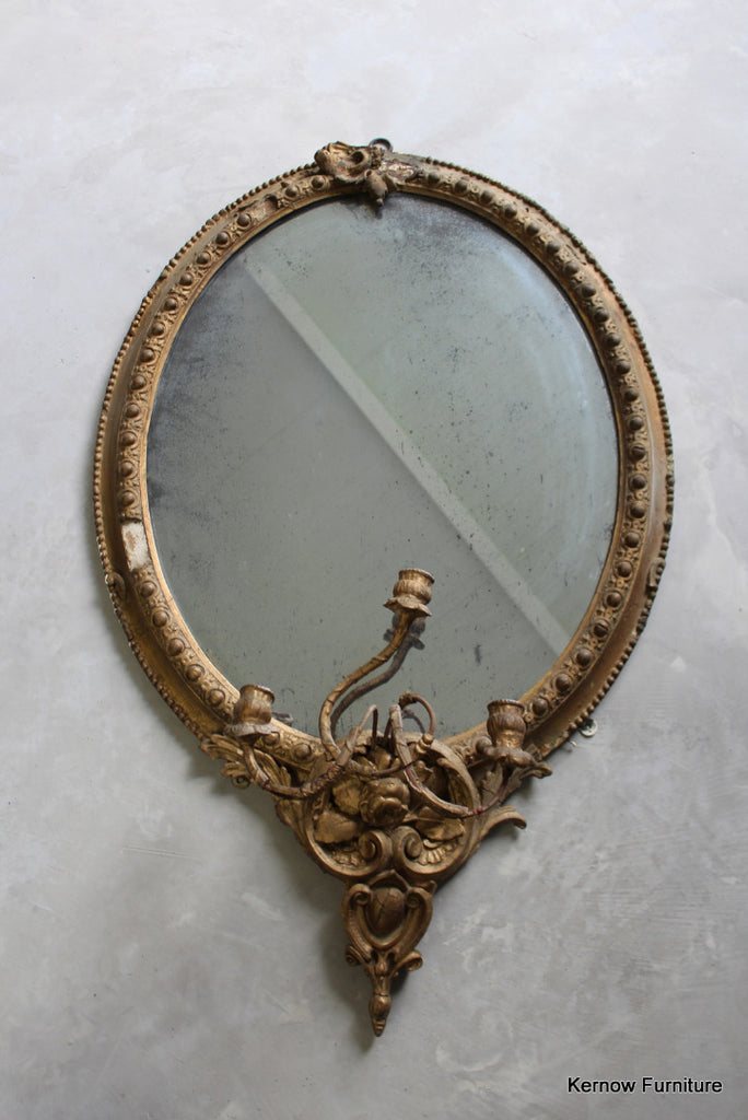 Antique Gilt Girandole Mirror - Kernow Furniture