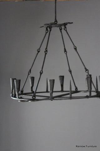 French Iron Ring Chandelier