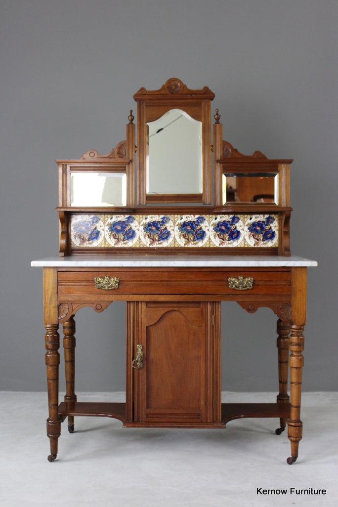 Antique Marble Top Washstand - vintage retro and antique furniture