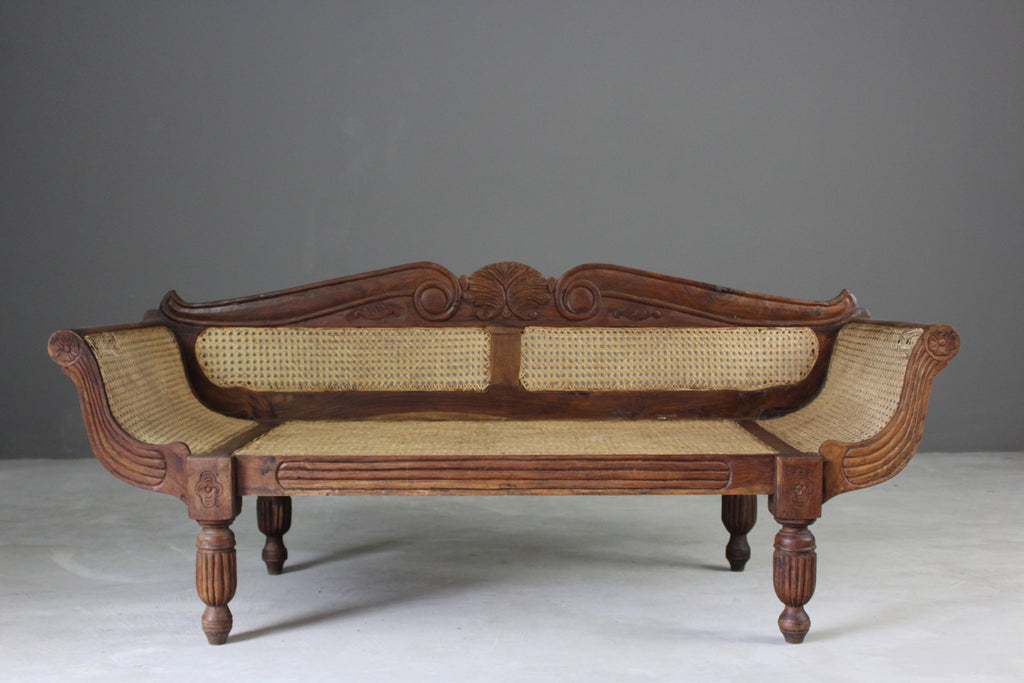 Anglo Indian Caned Sofa - vintage retro and antique furniture