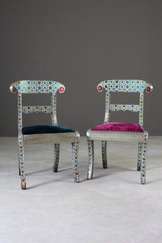 Pair Indian Enamelled Metal Chairs