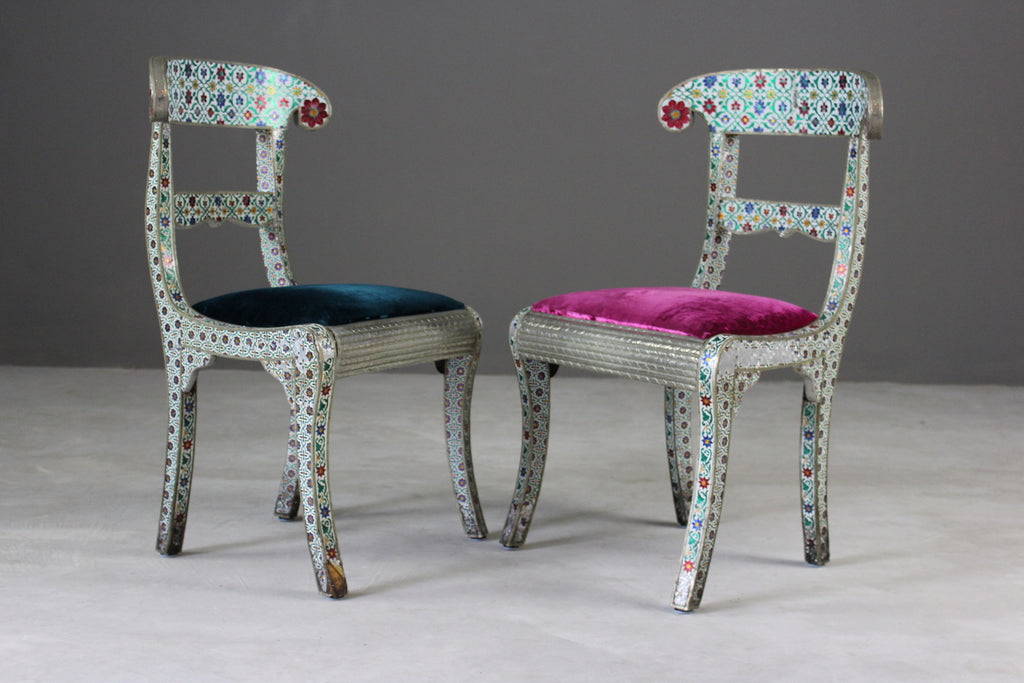 Pair Indian Enamelled Metal Chairs - Kernow Furniture