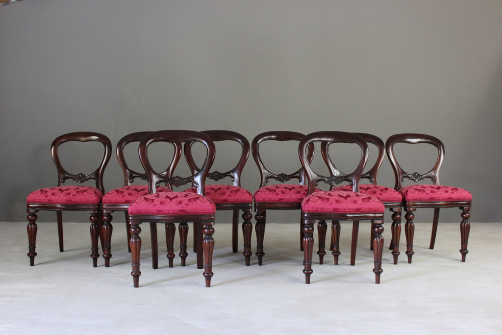 8 Victorian Style Balloon Back Dining Chairs - vintage retro and antique furniture