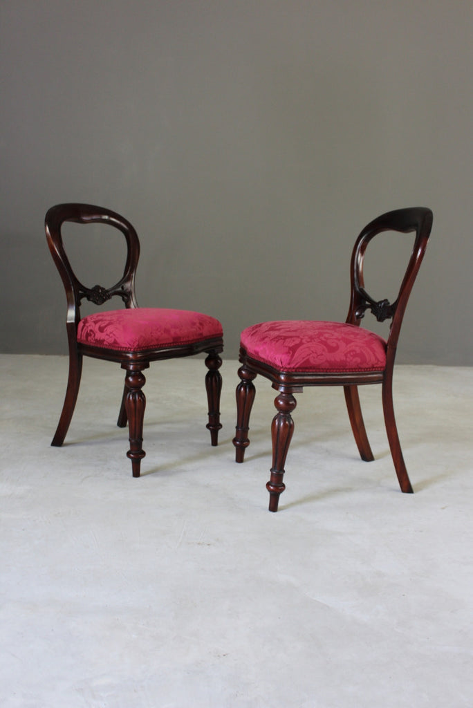 8 Victorian Style Balloon Back Dining Chairs - Kernow Furniture