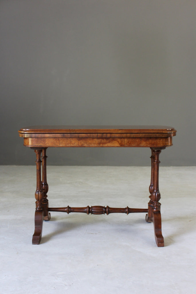 Antique Walnut Games Table - vintage retro and antique furniture