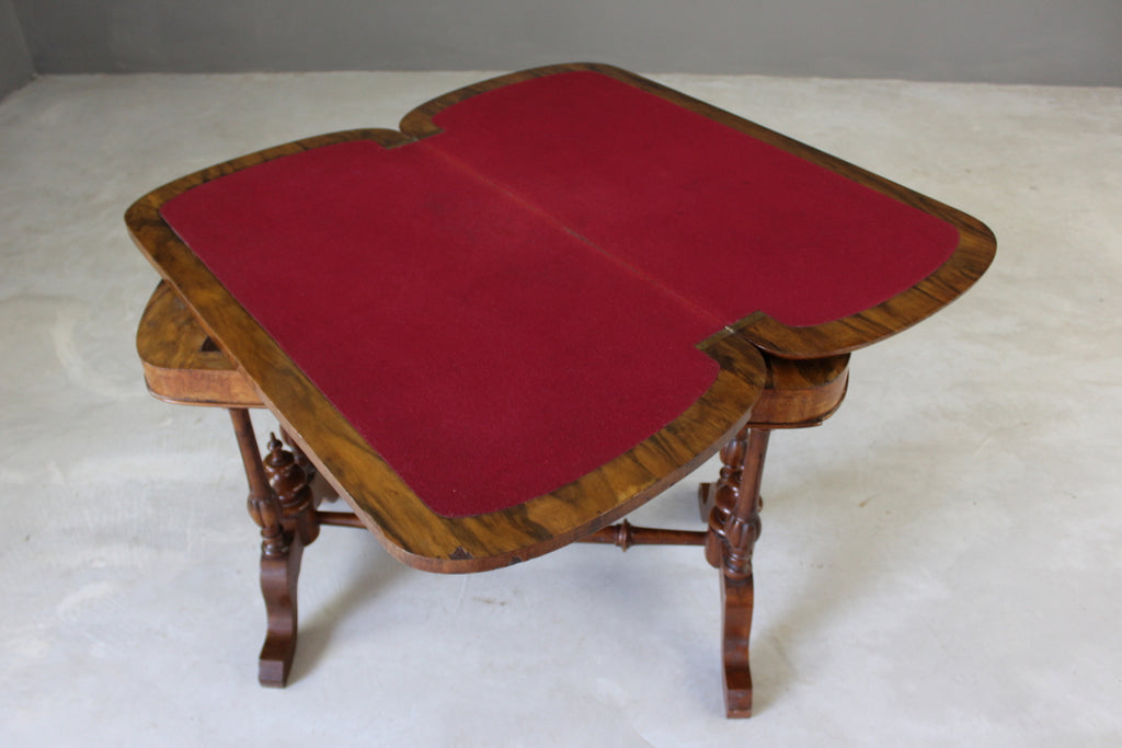Antique Walnut Games Table - Kernow Furniture