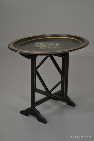 Black & Gold Antique Style Tilt Top Side Table - Kernow Furniture 100s vintage, retro & antique items in stock