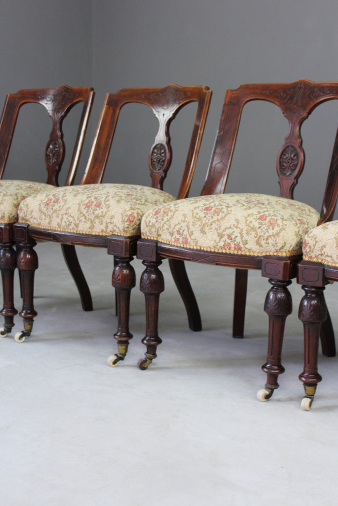 4 Victorian Aesthetic Period Dining Chairs - vintage retro and antique furniture