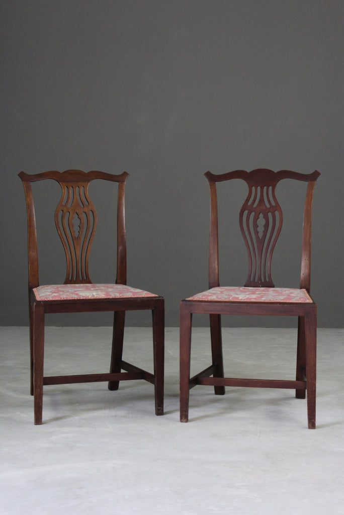 Pair Georgian Style Dining Chairs - Kernow Furniture