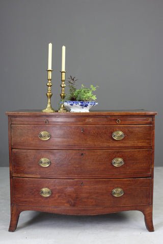 Georgian Style Bow Front Chest of Drawers - Kernow Furniture