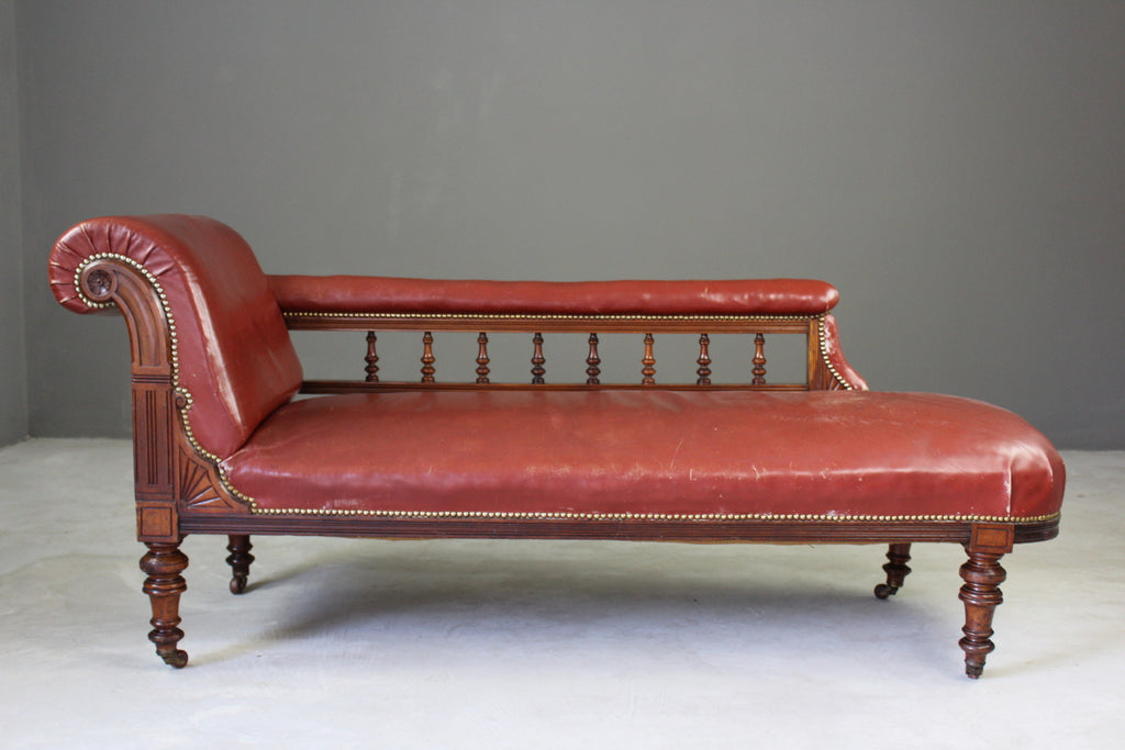 Antique Leather Chaise Longue - Kernow Furniture